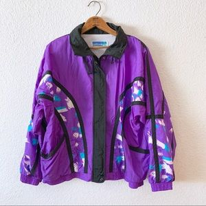 Vintage 80s Purple Black Abstract Windbreaker
